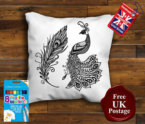 Peacock Colouring Cushion Cover, with 8 x Fabric Pens Handmade