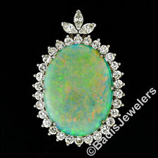 14K Gold 44.35ct GIA Cabochon FIERY Opal Marquise & Round Diamond LARGE Pendant