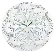 orologio parete / muro design moderno in metallo con SWAROVSKI trasparenti fiore