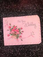 Vintage Wedding Card MCM Wallet Money Pink roses Rings American Greetings