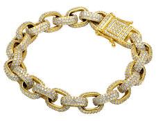 "Mens Anchor Link Rolo Diamond Bracelet mens 14K Yellow Gold 9"" 22 1/2CT"