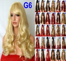 Womens Ash Blonde Auburn Red Fashion Halloween Costume Long Curly Synthetic Wigs