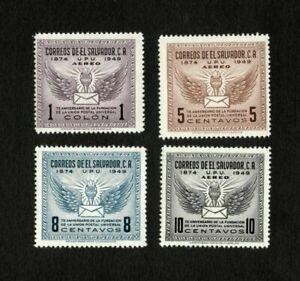 El Salvador 1949 - Scott# 613, C122-4 - UPU 75th Anniv. - Set of 4 Stamps  - MNH