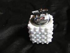 VINTAGE CHROME  LIGHTER IN  FENTON  HOBNAIL WHITE  MILK GLASS CUBE