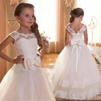 New Stylish Long Lace Gown Wedding Princess Flower Girl Dress Party Kids Clothes