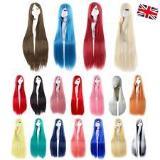 UK Long 100cm Straight Cosplay Party Women Anime Hair Full Wig Christmas