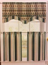 """Lodge Elements Forest Stripe Valance Double Layer Valance 58"""" W- 18"""" L New"""