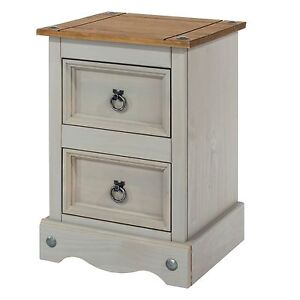Corona Bedside Cabinets 2 Drawers Grey Table Solid Pine Wood Washed Effect