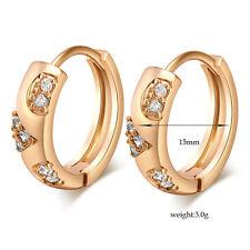 FIN003-Vintage Jewelry yellow gold filled clear CZ Womens Hoop Huggie Earrings
