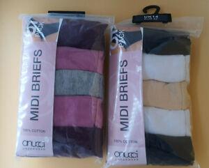 Pack of 5 Ladies Cotton Midi Briefs, 2 NEW colorways Sizes 12, 14, 16, 18, 20