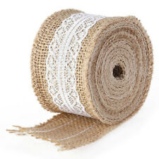 5m Natural Hessian Sackcloth With Lace Ribbon 5cm Wide Brown G Z8s7