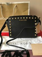 BNWT Michael Kors Studded Selma Black Medium Messenger Crossbody Bag