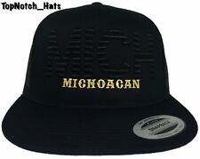 Michoacan MICH Black On Black With Gold Trucker Hat Brand New Ships Now !!!