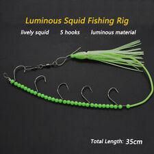 3pcs/Lot Luminous Fishing Rig Squid Lure Rig Noctilucent Octopus 5 Hooks Beads
