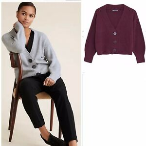 M&S Cotton Knitted V-Neck Relaxed Cardigan X LARGE BERRY