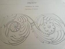 N50 ANCIEN DESSIN TECHNIQUE 33x47,5 Encre XIXè Arts & métiers ORNEMENT FRISE