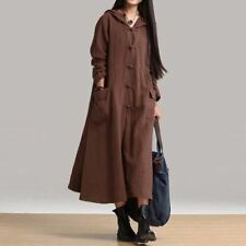 Women Casual Loose Maxi Long V Neck Long Sleeve Hooded Cotton Dress