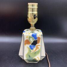 Vtg Sm Czech Art Deco Pottery Hand Painted Flower Boudoir Lamp