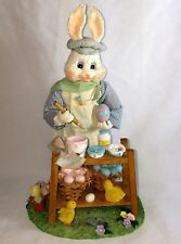 Easter Bunny Figurine Painting Eggs 12 in Tall Rabbit Baby Chicks Decoration