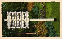 Vintage Postcard - Handmade Town Sign Post Maine ME Linen Un-posted #1768