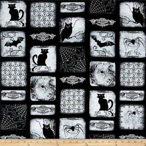 Fat Quarter Gothic Glam Halloween Wicked Windows 100%  Cotton Quilting Fabric
