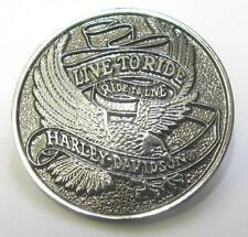 11714 HARLEY DAVIDSON PIN BADGE ROUND LARGE SILVER EAGLE LIVE TO RIDE MOTORCYCLE