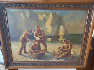 Antique PAINTING Fishermen fishing at Durdle Door Dorset OIL ON CANVAS picture
