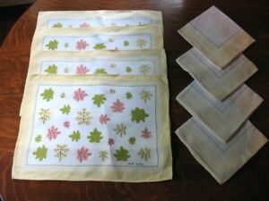 Vintage Faith Austin Linen Placemat & Napkin Set Leacock Prints Oak Leaves