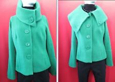 Monsoon Green Wool Mix Button Up Collared Short Winter Jacket  UK 18  EU 46