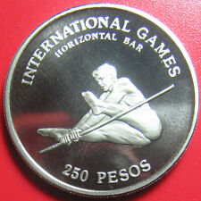 1984 GUINEA-BISSAU 250 PESOS PROOF HORIZONTAL BAR SPORT COIN CROWN (no silver)