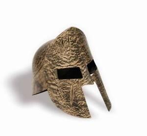 Mens Adult Roman Emperor Gold Spartan Gladiator 2 Piece Plastic Costume Helmet