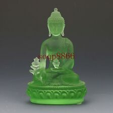 EXQUISITE CHINESE COLOURED GLAZE HAND CARVED GREEN PHARMACISTS BUDDHA STATUES RT