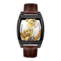 Mens Classic Schwungrad Lederband Luxus Bling mechanische Uhr Nett Top U4E0