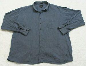 Bill Blass Studio Blue Pocket Dress Shirt Cotton Long Sleeve 3XLT XXXL Tall Mans