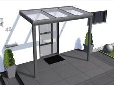 Vordach Haustür Terrasse Überdachung Pultvordach Alu Braun 240x80cm V2Aox
