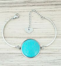 Stainless steel bracelet bangle 25mm round turquoise stone extension heart