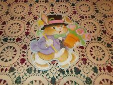 """Vtg Eureka Easter Diecut Cardboard Decoration Large 14"""" Top Hat Bunny Cane Tulip"""