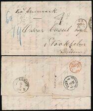 GB in Svezia 1868 Hull DUPLEX come origine annullare + 4d handstamp reclamo in Danimarca
