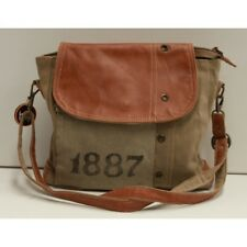 1887 Unisex Leather and Canvas Crossbody Bag