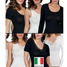 3 maglia intima 100% caldo cotone canotta mezza manica manica lunga raso o pizzo