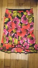 Women's Karen Millen Black & Red Fishtail Floral Skirt With Lace Detail Size 14