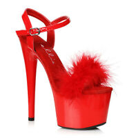 Ellie 709-WHITNEY Red 7 inch Platform Sandal With Marabou