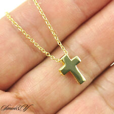 "Sterling Silver 925 Small Plain Cross Ladies Pendant Necklace 16""-18"" Gold Plate"