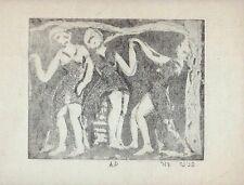 Pnina Zur: Girls Dancing / Israeli Jewish Modernism S/Etching / Folk Dance