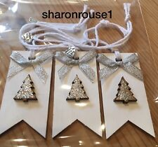 3 X Handmade Christmas Gift Tags Deco Shabby Chic Wood Heart Tree Bows Silver
