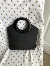 "Christian Dior Vintage Womens ""O"" Quilted Tote Handbag Black  Canvas"