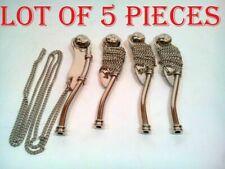 Lot Of 5 Nautical Antique Brass Nickel Finish Boatswain's Pipe Bosun Whistle
