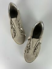 Joie Women's US 7.5 or EUR 37.5 Gray Taupe Leather Suede Ruffle Slip On Shoes