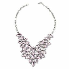 "PINK GLASS BIB STATEMENT LADIES NECKLACE 20-22"" SILVER TONE EVENING WEAR GLASS"
