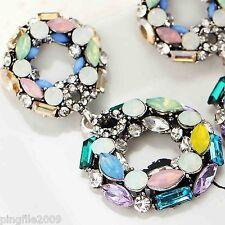 Bling Rainbow Drop/Dangle Earring 5.3cm 462 New Design Lady Multi Crystal Layers